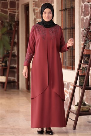 Dress - Crepe - Unlined - Crew Neck - Claret Red - AMH610