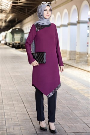 Sequin Embroidered Double Set Plum ANR05