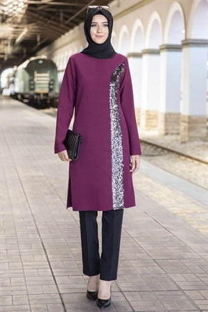 Sequin Embroidered Double Set Plum ANR06