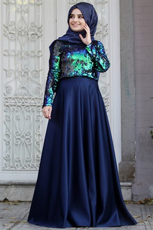 Blouse - Skirt - Satin - Sequin - Unlined - High Collar - Royal Blue - SMY64