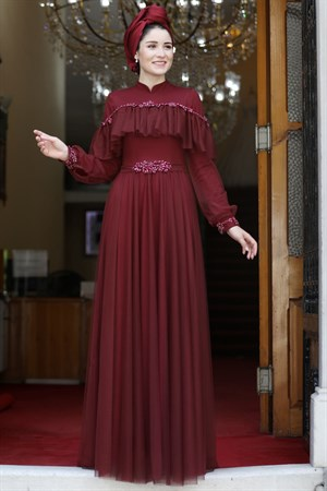 Evening Dress - High Collar - Claret Red - BBF24