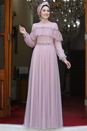 Evening Dress - High Collar - Powder - BBF24