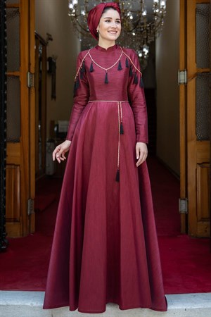 Evening Dress - Jacquard - Necklace - Detailed - Tippet - Burgundy - BBF26