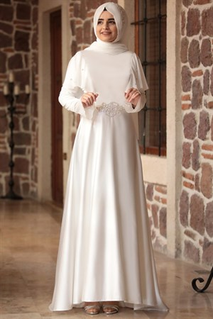 Evening Dress - Satin - Chiffon - Full Lined - High Collar - Ecru - SMY06