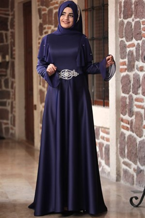 Evening Dress - Satin - Chiffon - Full Lined - High Collar - Purple - SMY06