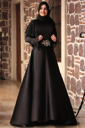 Evening Dress - Satin - Chiffon - Full Lined - High Collar - Black - SMY06