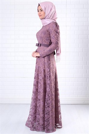 Dress - Lace - Full Lined - High Collar - Lilac - FHM396