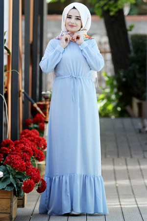 Dress - Crepe - Unlined - High Collar - Baby Blue - SMY08