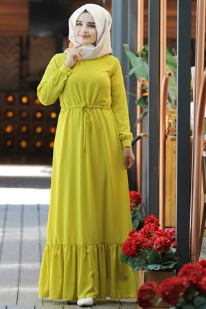 Dress - Crepe - Unlined - High Collar - Yellow - SMY08