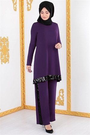 Tunic - Pants - 2 Piece Suit - Lycra - Unlined - Crew Neck - Purple - FHM428