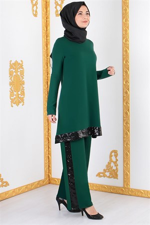 Tunic - Pants - 2 Piece Suit - Lycra - Unlined - Crew Neck - Emerald Green - FHM428