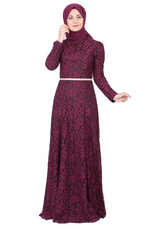 Dress - Lace - Full Lined - High Collar - Plum - FHM452