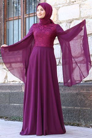 Dress - Lace - Full Lined - High Collar - Plum - FHM485