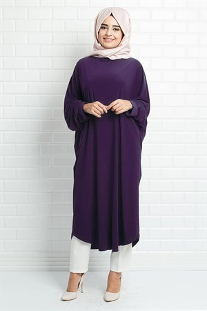 Tunic - Crepe - Unlined - Crew Neck - Purple - FHM514