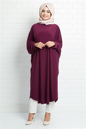 Tunic - Crepe - Unlined - Crew Neck - Plum - FHM514