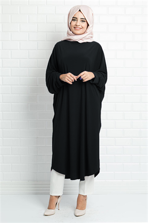 Tunic - Crepe - Unlined - Crew Neck - Black - FHM514