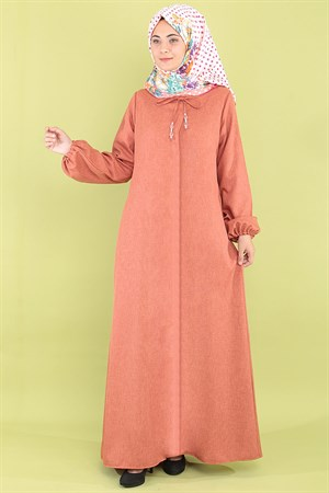 Abaya - Crepe - Unlined - Crew Neck - Brick - FHM516