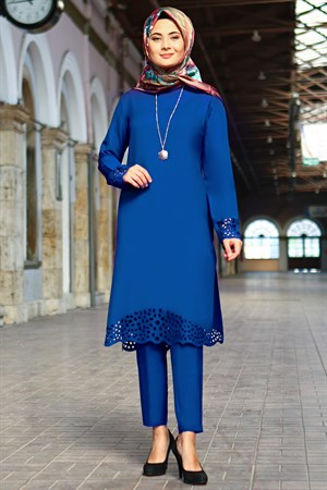 Tunic - Pants - 2 Piece Suit - Crepe - Unlined - High Collar - Indigo Blue - FHM520