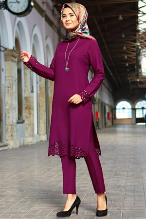 Tunic - Pants - 2 Piece Suit - Crepe - Unlined - High Collar - Plum - FHM520