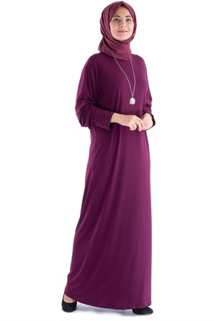 Dress - Lycra - Unlined - Crew Neck - Plum - FHM602