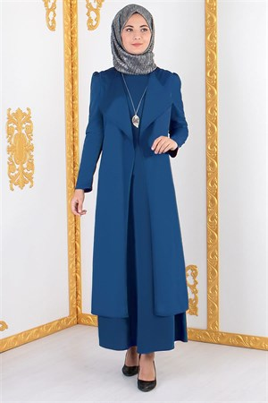 Vest - Long Sleeve Dress - Crepe - Unlined - Crew Neck - Indigo Blue - FHM606