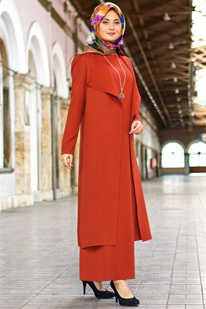 Vest - Long Sleeve Dress - Crepe - Unlined - Crew Neck - Brick - FHM606