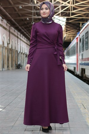 Dress - Crepe - Unlined - Crew Neck - Plum - FHM626