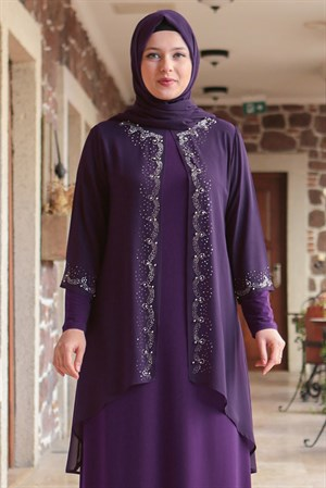 Dress - Lycra - Unlined - Crew Neck - Purple - FHM628