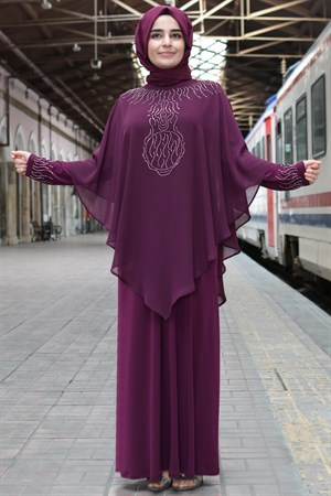 Evening Dress - Lycra - Chiffon - Unlined - Crew Neck - Plum - FHM636