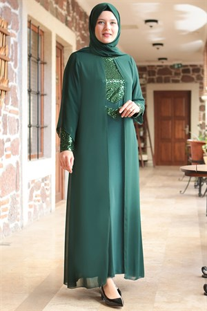 Dress - Lycra - Unlined - Crew Neck - Emerald Green - FHM640