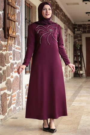 Evening Dress - Crepe - Unlined - High Collar - Plum - FHM646