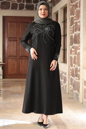 Evening Dress - Crepe - Unlined - High Collar - Black - FHM646