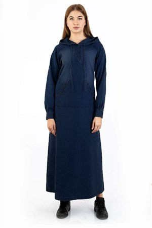 Dress - Jeans - Unlined - Hooded - With Pockets - Crew Neck - FHM725