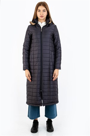 Puffer Jacket Hooded Lined Round Neck Navy FHM730