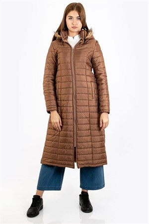Puffer Coat Hooded Lined Round Neck Mink FHM730