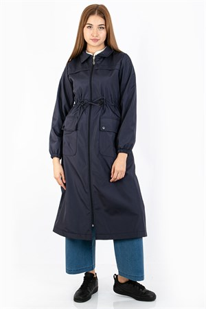 Waterproof Trench Coat Navy Blue FHM732