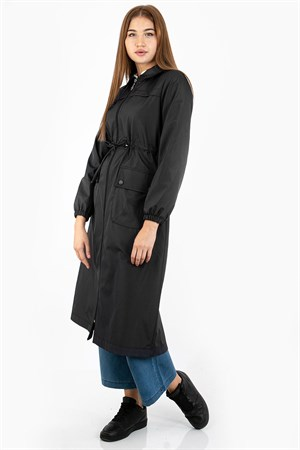 Waterproof Trench Coat Black FHM732