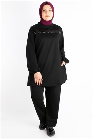Plus Size Tracksuits Black FHM762