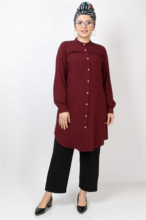 Ruffle Detailed Tunic Claret Red FHM776