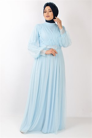 Tulle Detailed Evening Dress Baby Blue  FHM777