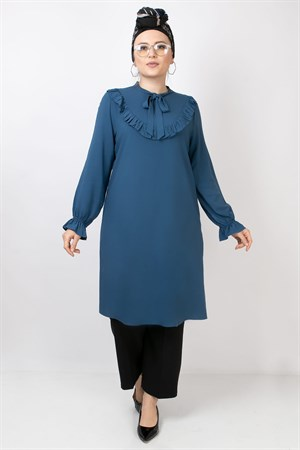 Ruffled Detail Tunic Indigo Blue FHM784