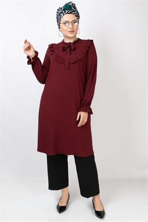 Ruffled Detail Tunic Claret Red FHM784