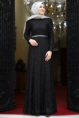 Evening Dress - Lace - Full Lined - High Collar - Black - AMH125