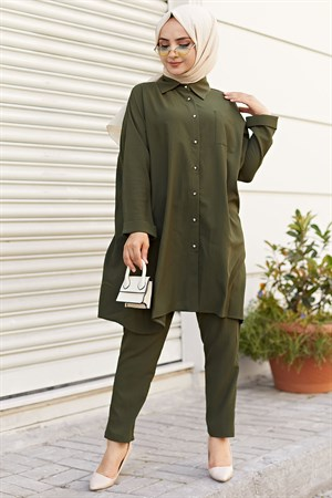Tunic - Pants - 2 Piece Suit - Crepe - Unlined - Crew Neck - Khaki - HMA20