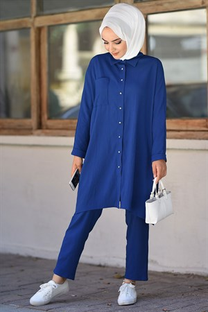 Tunic - Pants - 2 Piece Suit - Crepe - Unlined - Crew Neck - Royal Blue - HMA20