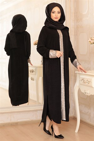 Abaya - Tunic - Crepe - Unlined - Black - LFZ72