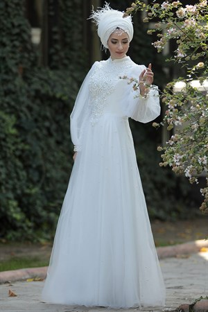Wedding Dress - Tulle - Full Lined - High Collar - Ecru - LFZ75
