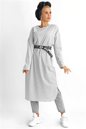Tunic - Poly Cotton - Unlined - Crew Neck - Grey - LR705