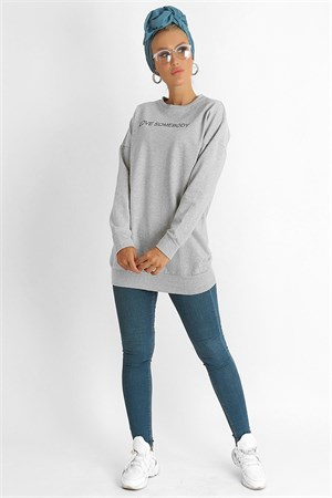 Tunic - Two Thread Cotton - Unlined - Crew Neck - Grey - LR709