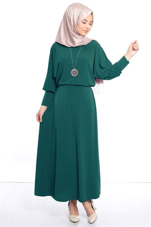 Dress - Lycra - Unlined - Crew Neck - Emerald Green - FHM405